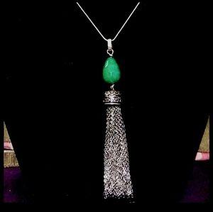 Antique Gorgeous Sterling Emerald Tassel Necklace